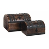 Benzara Set Of 3 Contemporary Wood Metal Box