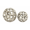 Benzara Distinctive Aluminum Orbs Set Of 2