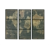 "World Map Wood Glass Wall Panel Set Of 3 54""W, 44""H"