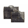 "Benzara Modern Art Wood Faux Leather Box Set Of 2 11"", 13""W"