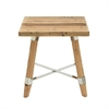 Traditional Wood Stainless Steel Side Table, Natural Wood