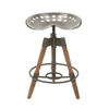 Chic Metal Wood Bar Stool, Brown, Black, Silver