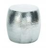 "Benzara Vintage Inspire Aluminum Hammered Stool 16""H, 14""W"