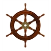 Benzara Wood Brass Ship Polystone Wheel With 18 Inches Diameter