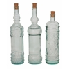 "Benzara Sassy Set Of 3 Glass Stopper Bottle 3""W, 14""H"