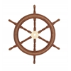 Benzara Customary Styled Wood Brass Ship Wheel