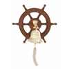 Benzara Customary Styled Attractive Wood Ship Wheel Bell