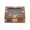 "Smartly Styled Wood Glass Game Box 5""W, 2""H"