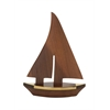 "Nautical Wood Brass Sail Boat 7""W, 10""H"