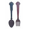 Kitchen Décor Wooden And Metal Cutlery With Antiqued Finish - Set Of 3