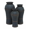 Benzara Set Of 3 Metal Vase With Antique Weathered Finish