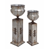 Benzara The Tall Set Of 2 Metal Pedestal Urn