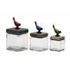 Benzara Simply Elegant Glass Wood Canister Set Of 3