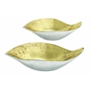 Benzara Set Of Two Golden Aluminium Gld Bowl