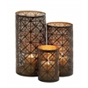 Benzara Beautifully Shaped Metal Candle Holder Set Of 3
