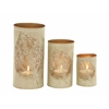 Benzara Leaf Patterned Set Of Three Metal Candle Holder