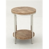 Modish Stainless Steel Wood Round Accent Table
