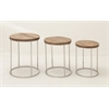 "Benzara Set Of Three Stainless Steel Wood Round Tables 14"", 17, 18""W"