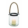 Benzara Vintage Canning Jar Glass And Rope Candle Lantern