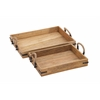 Benzara Wood Textured Classy Wood Tray Rohandle
