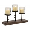Benzara Lovely And Elegant Wood Metal Glass Candelabra
