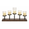 Benzara Amazing Styled Wood Metal Glass Candelabra