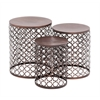 Benzara The Floral Set Of 3 Metal Accent Table