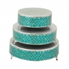 Remarkable Set Of Three Metal Mosaic Cake Stand
