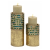 Benzara Beautiful Set Of Two Metal Mosaic Candle Holder