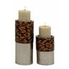 Benzara Classy Set Of Two Metal Mosaic Candle Holder
