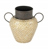 Charmingly Styled Metal Mosaic Vase