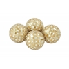 Benzara Set Of 4 Fabulously Designed Pvc Glass Gold Mosaic Orb