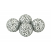Benzara Enthralling Pvc Glass Silver Mosaic Orb Set Of 4