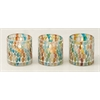 "Elegant Set Of Three Glass Mosaic Votive 3""W, 3""H"