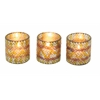 "Charming Set Of Three Glass Mosaic Votive 3""W, 3""H"