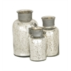 Benzara Simply Lustrous Glass Silver Bottle Set Of 3