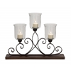 Benzara Unmatchable Metal Wood Glass Candle Holder