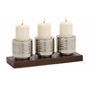 Benzara Cool And Modern Metal Wood Candle Holder