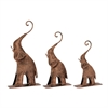Striking, Rustic Bronze, Set Of Three Metal Bronze Elephant
