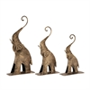 Appealing, Rustic Gold, Set Of Three Metal Gold Elephant