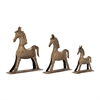 Alluring, Rustic Gold, Set Of Three Metal Gold Horses