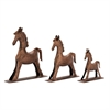 Enticing, Rustic Bronze, Set Of Three Metal Bronze Horses
