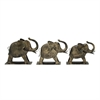 Artistic Metal Elephant, Rustic grey, Set Of 3 Pcs