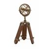 Benzara Stunning Brass Wood Armillary Stand