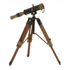 Benzara Artistic Brass Wood Telescope