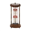 Classy Wood Metal Water Sand Timer, Brown, Brass & Red