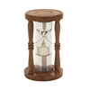 Charming Wood Glass Floating Sand Timer, Chrome silver