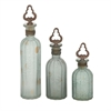Classy, Sea Green & Brown, Set Of Three Glass Stopper Bottle