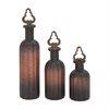 Gorgeous Glass Stopper Bottle, Black and Copper, Set Of 3