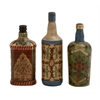 Rare And Beautiful Glass Painted Bottle Set Of 3